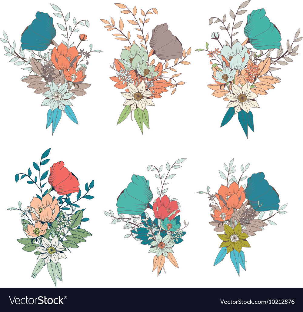 Hand drawn flower bouquets for wedding invitations hand drawn flower bouquets for wedding invitations vector image izmirmasajfo