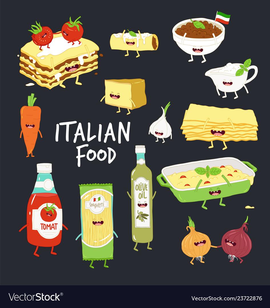 Italian food set lasagna and flavouring black
