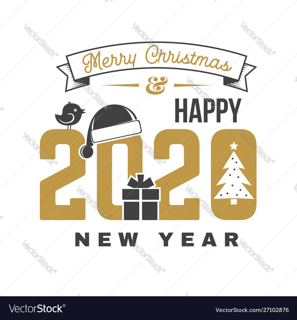 Merry Christmas 2020 Logo Merry christmas and 2020 happy new year sticker Vector Image