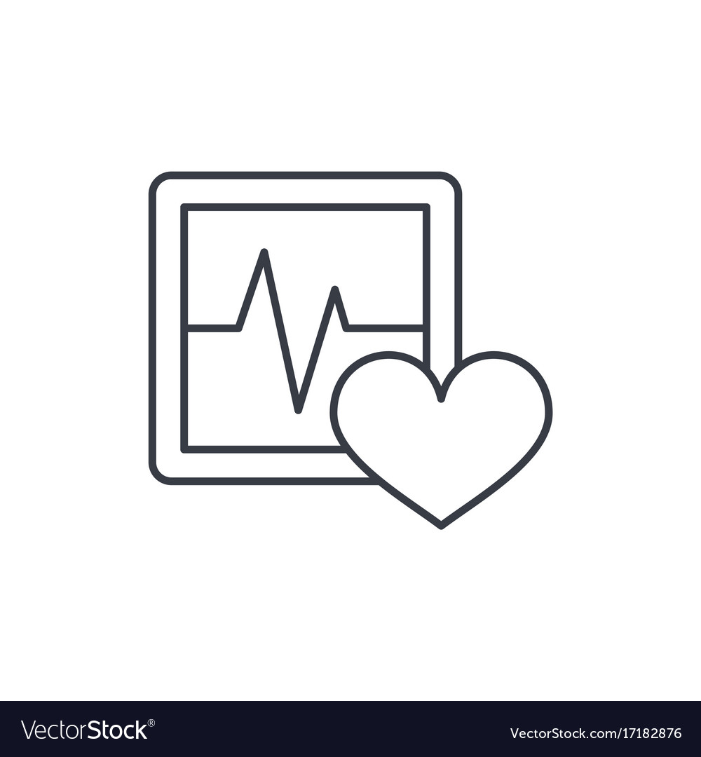 Pulse ecg cardiogram thin line icon linear