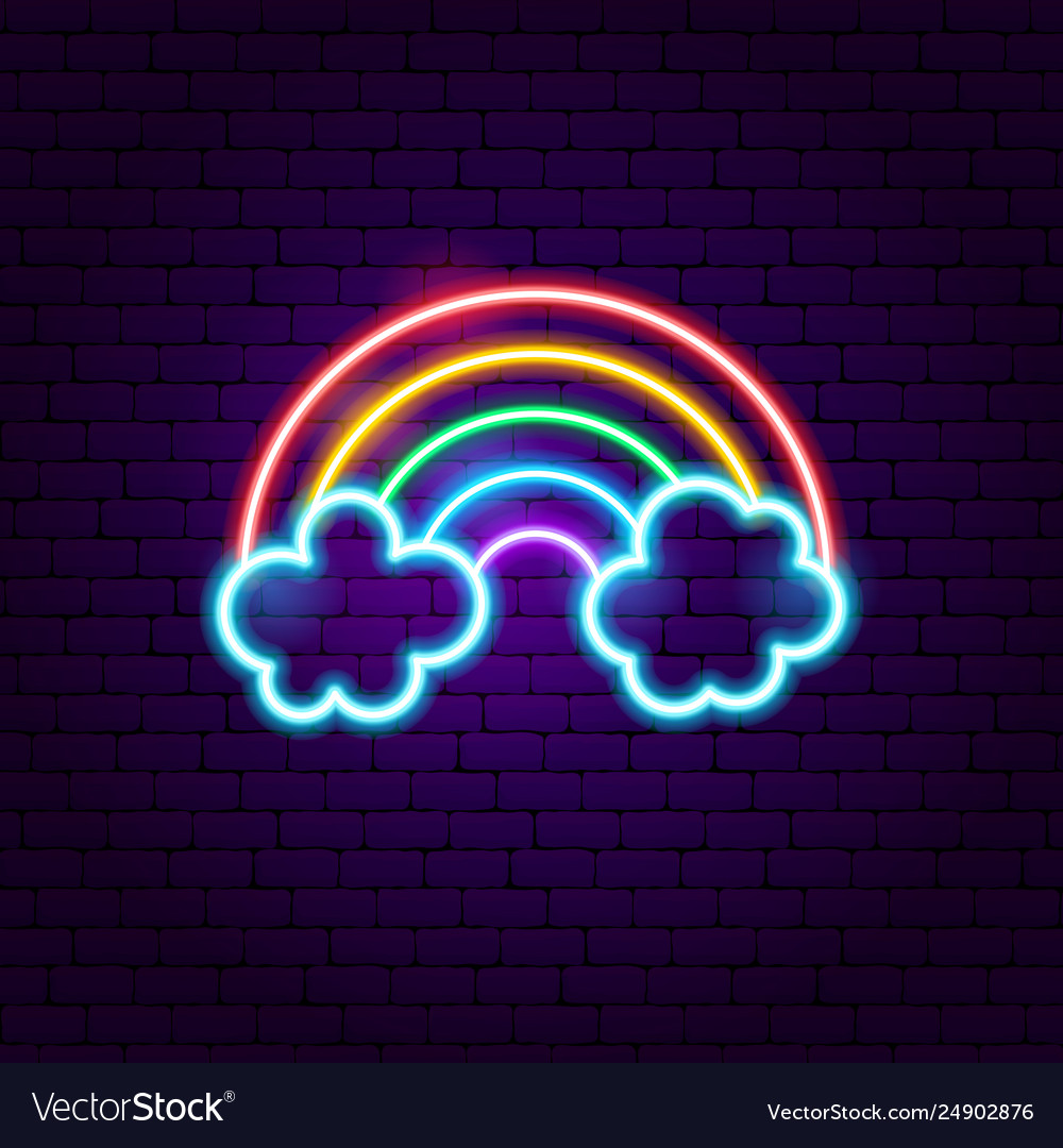 Rainbow with clouds neon label
