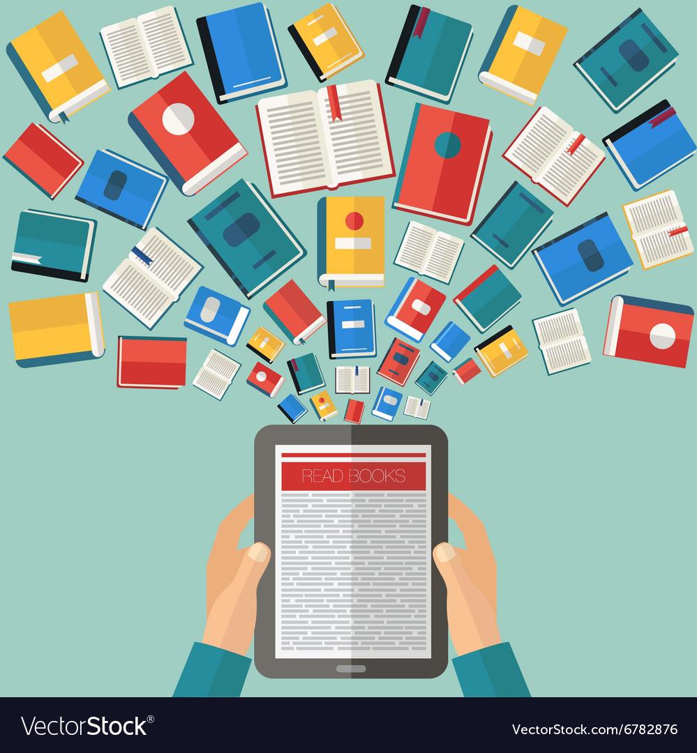 Reading Books and E-Books Flat design vector image