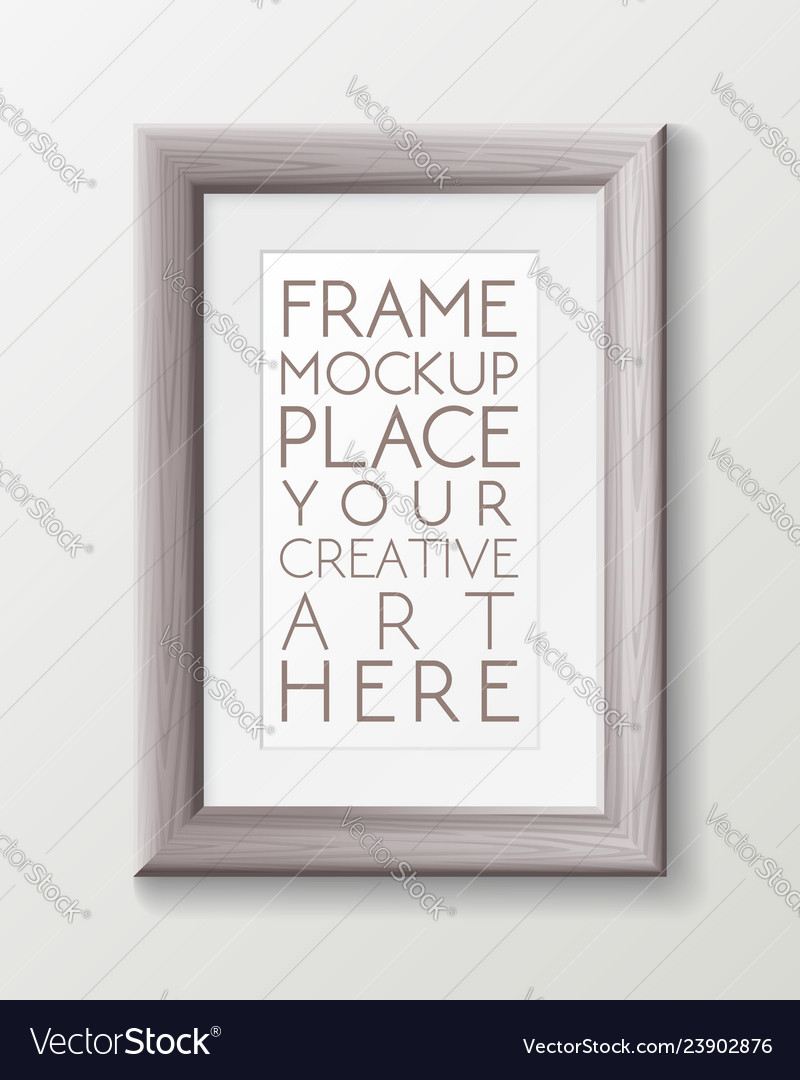 Realistic vertical gray wood frame template frame