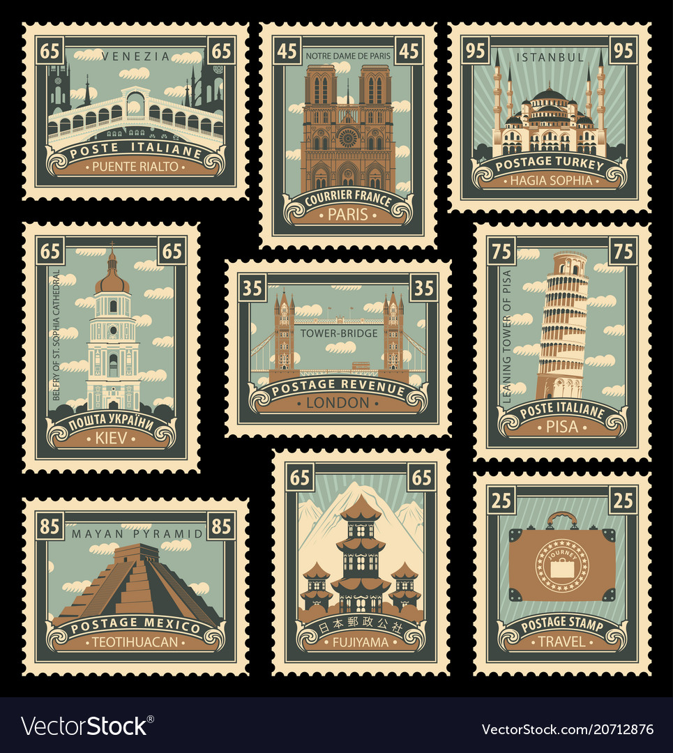 Set of stamps with architectural historical sites