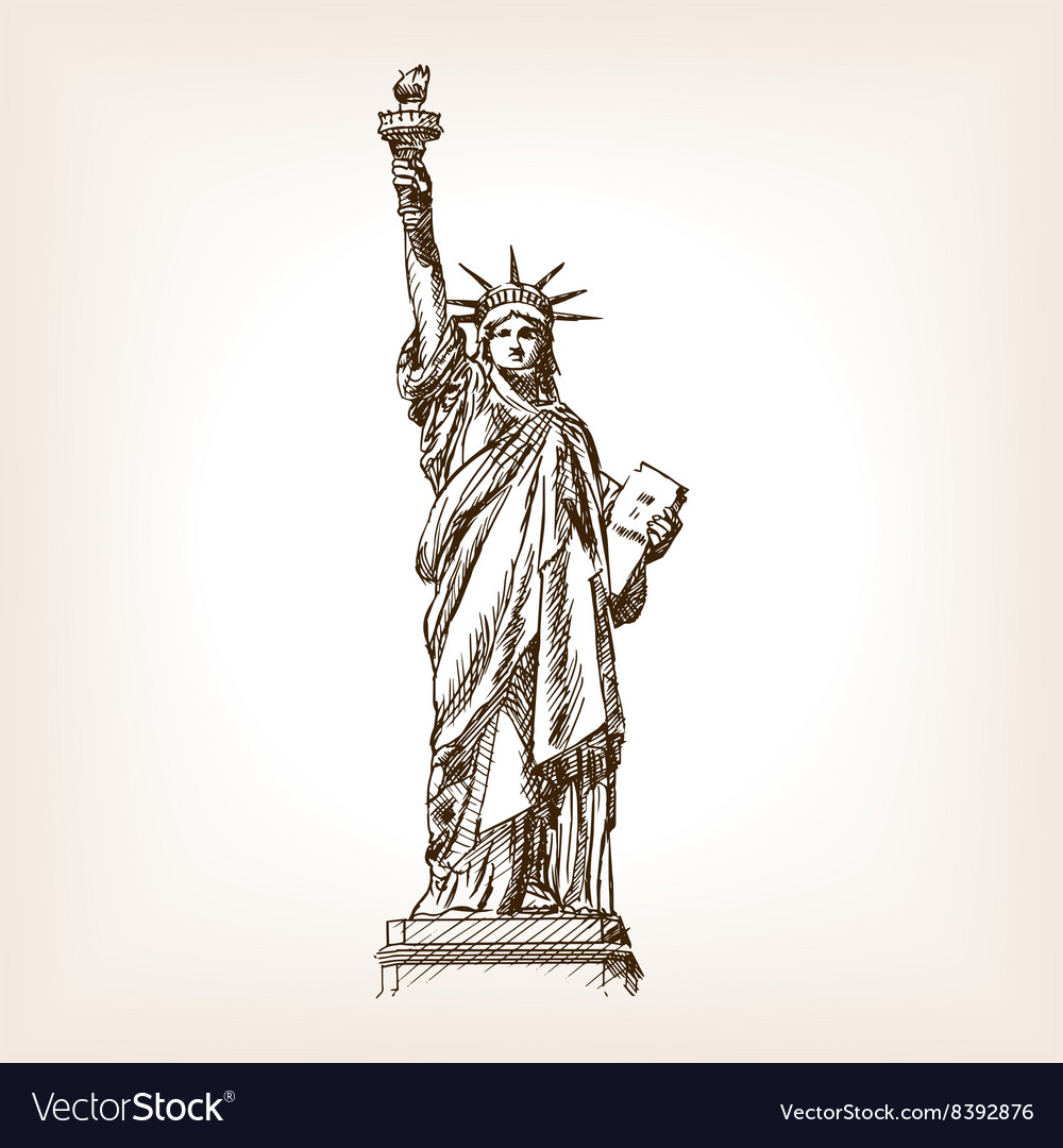 Statue of Liberty hand drawn sketch style