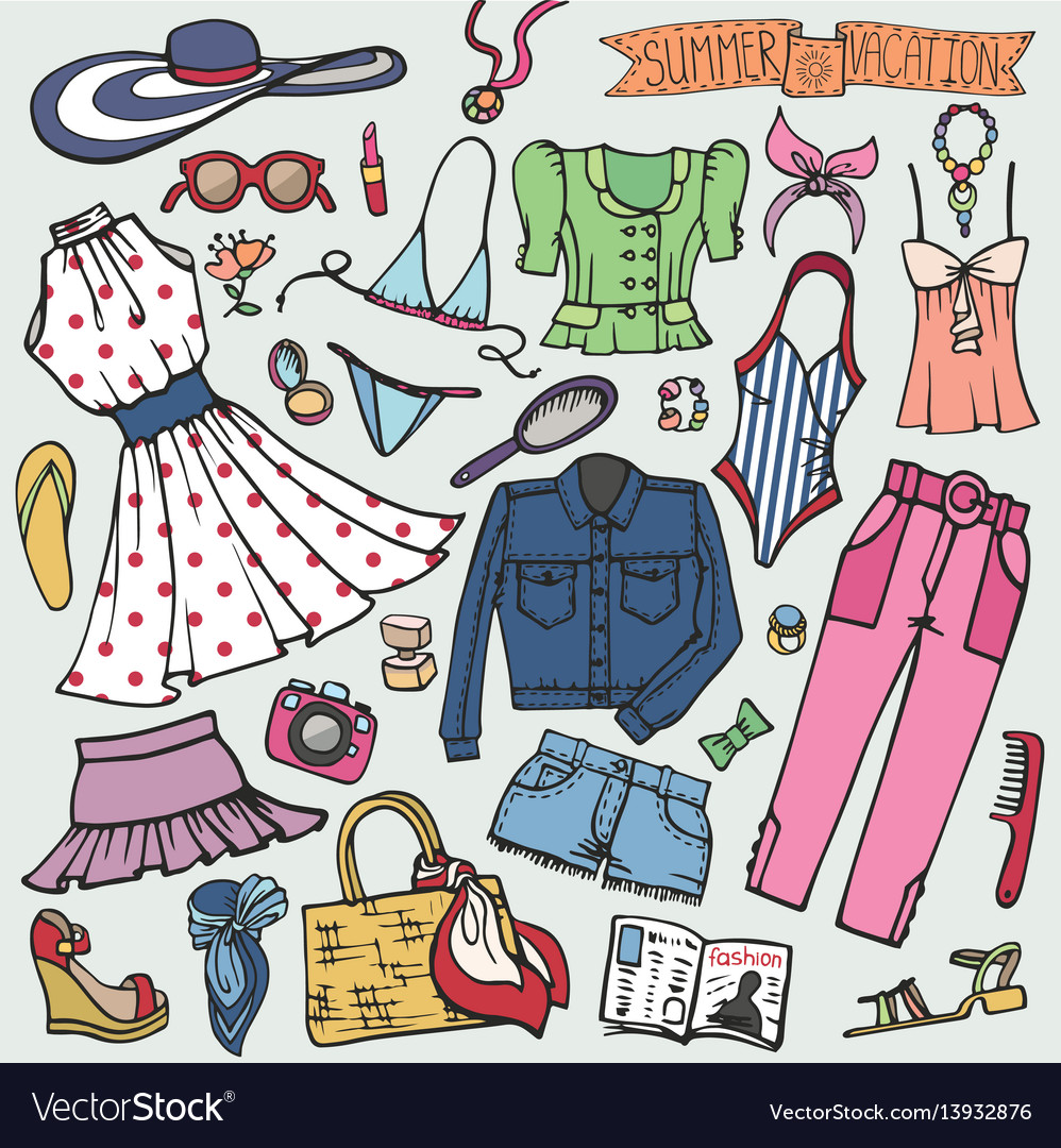 4ad0e5dc8f8f Summer fashion setwomangirl colored wear Vector Image