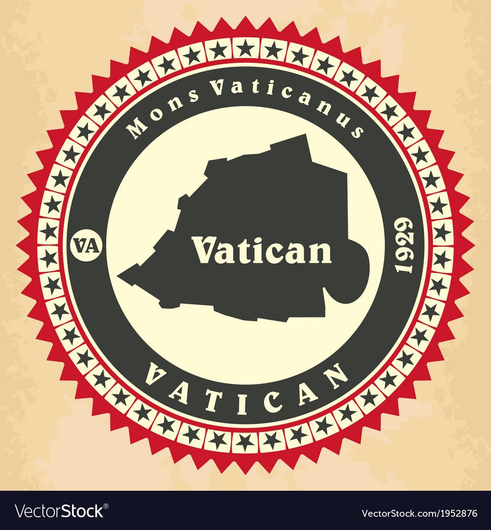 Vintage label-sticker cards of Vatican City vector image
