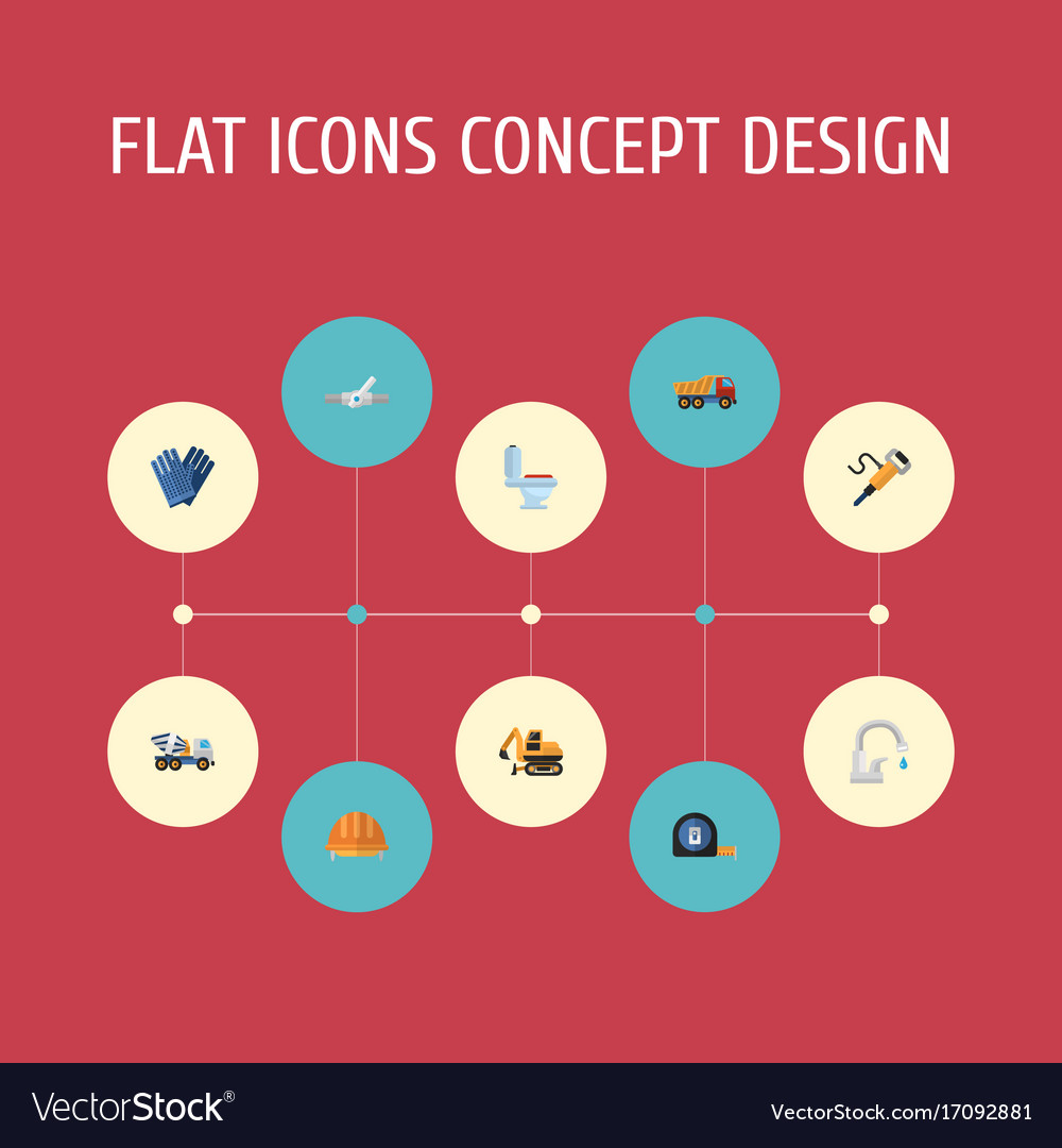 Flat icons mitten cement blender pneumatic and