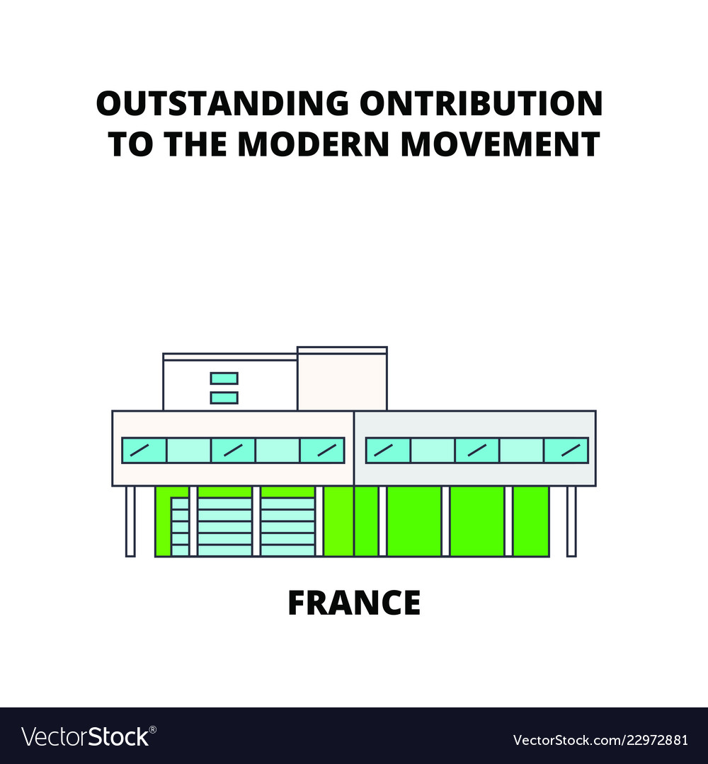 France Architectural Work Le Corbusier Vector Image