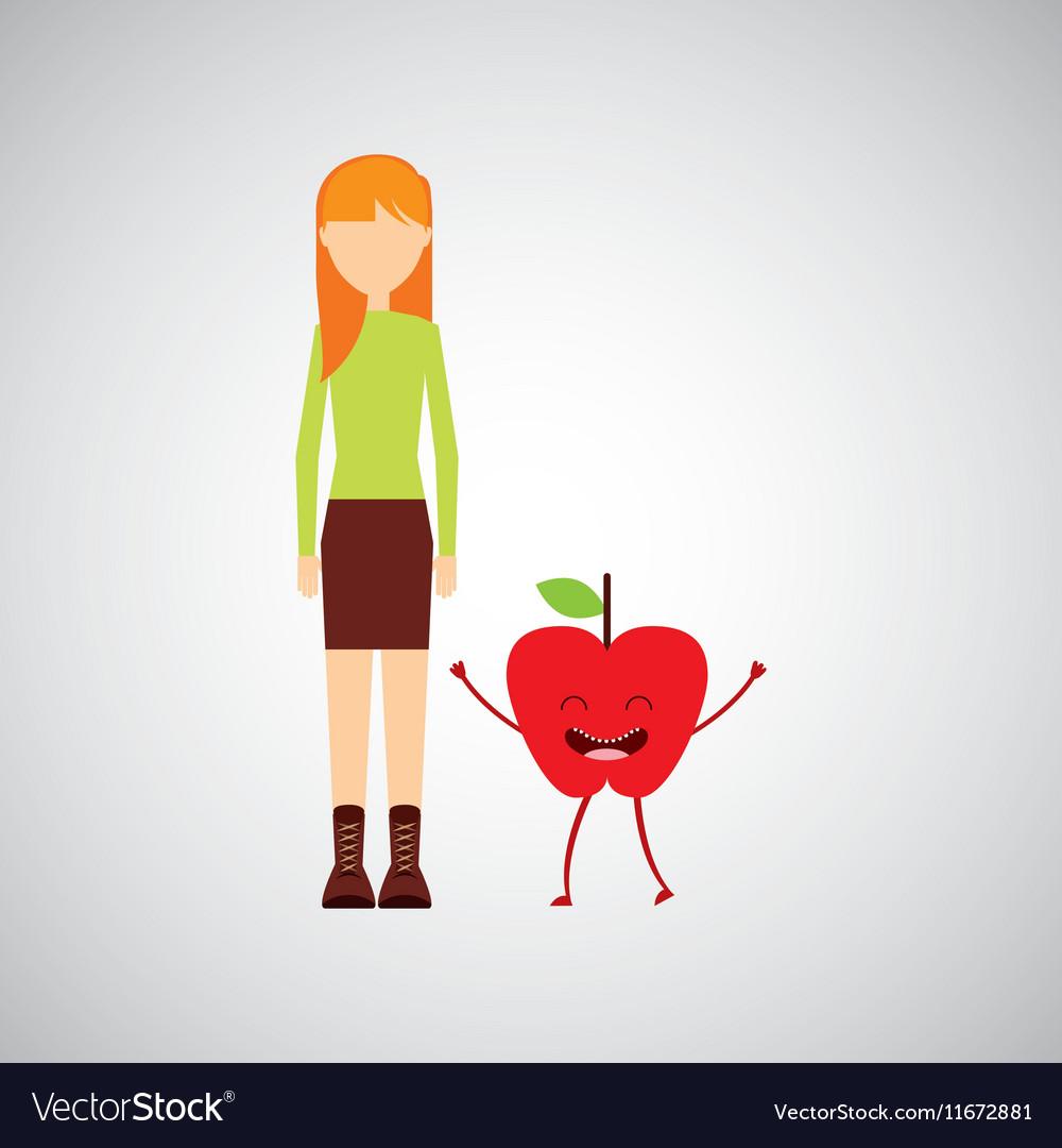 Girl cartoon and apple cute fruit icon