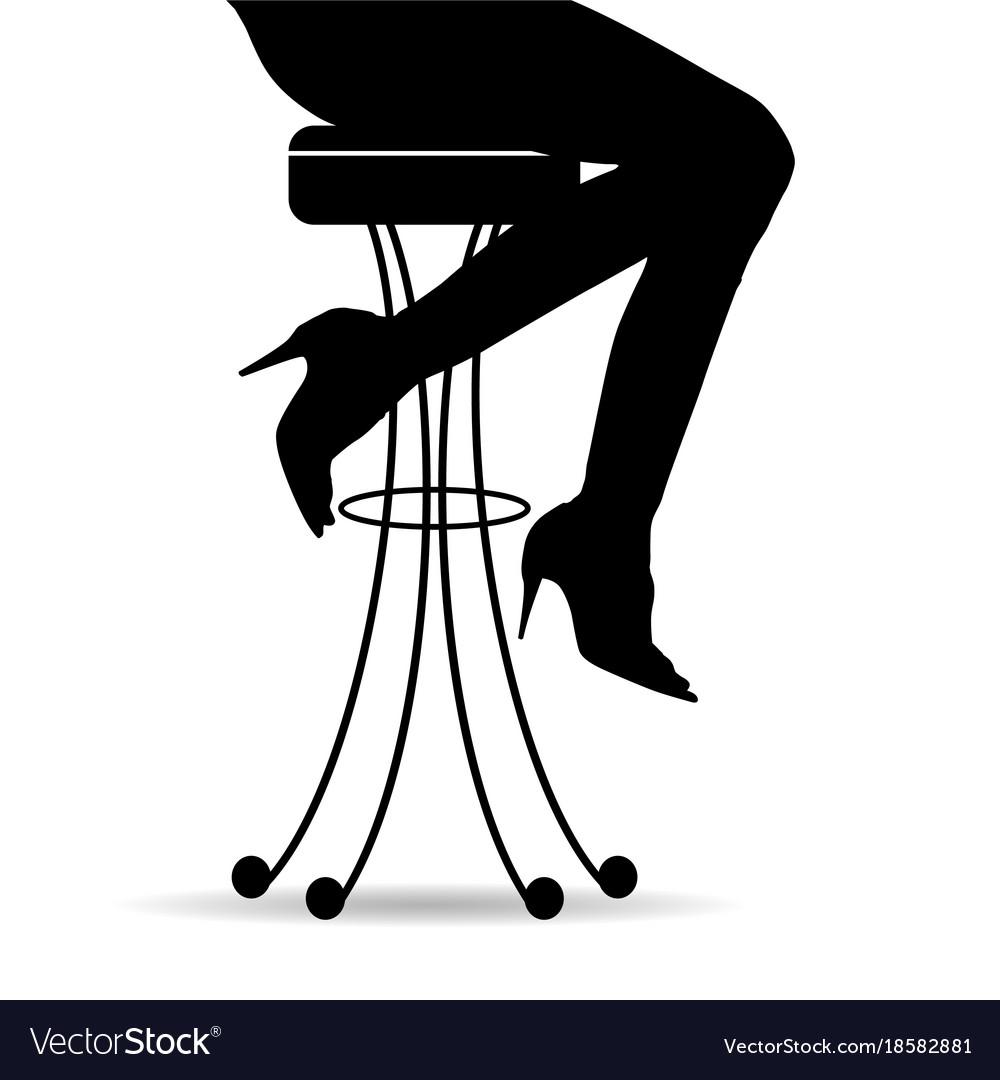 Girl silhouette sitting on bar stools