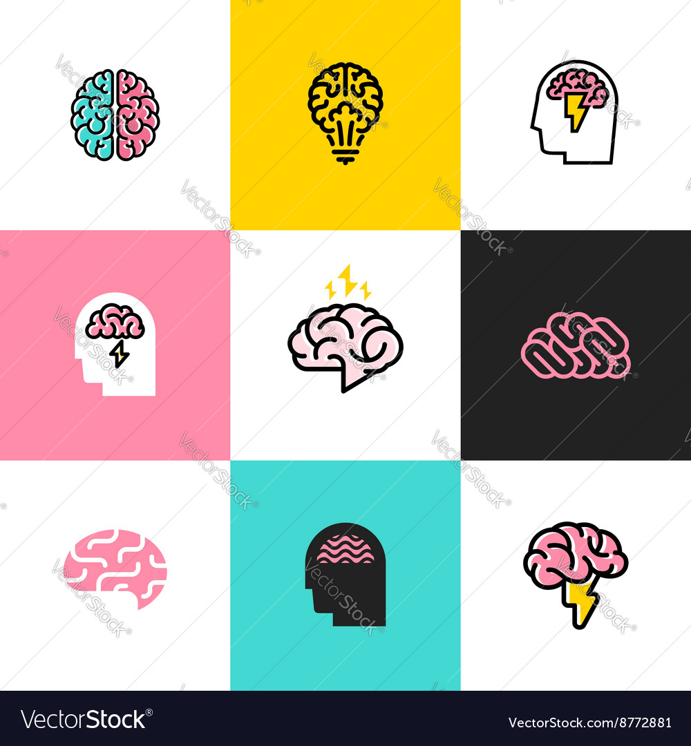 Icons and logos of brain brainstorming idea vector image
