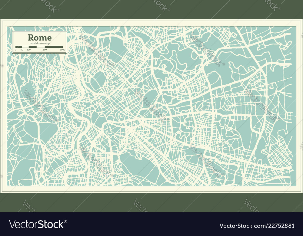 Rome italy city map in retro style outline map Vector Image on
