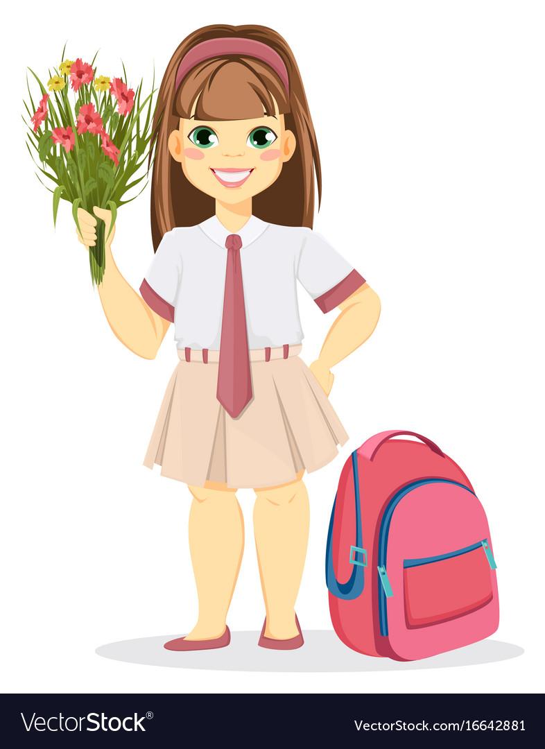 Schoolgirl with backpack and bouquet of flowers vector image izmirmasajfo