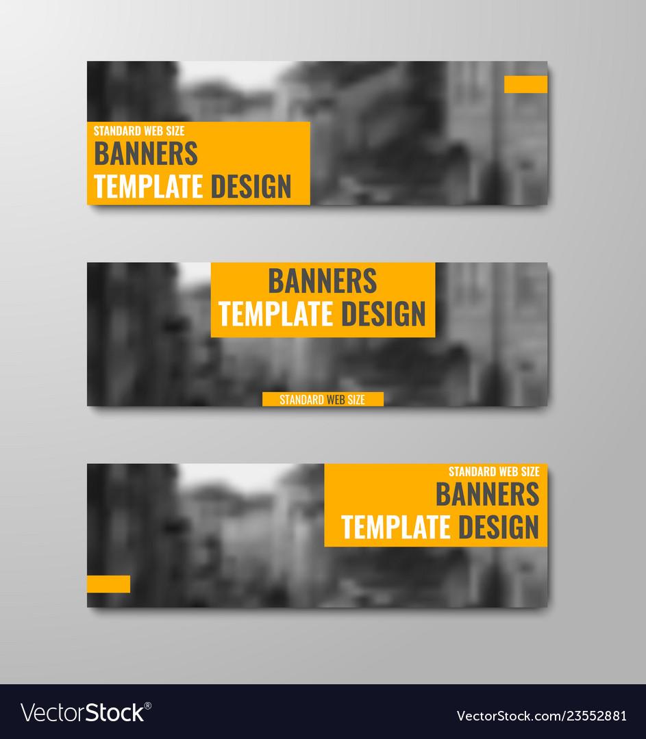 Set of horizontal banners with orange rectangular