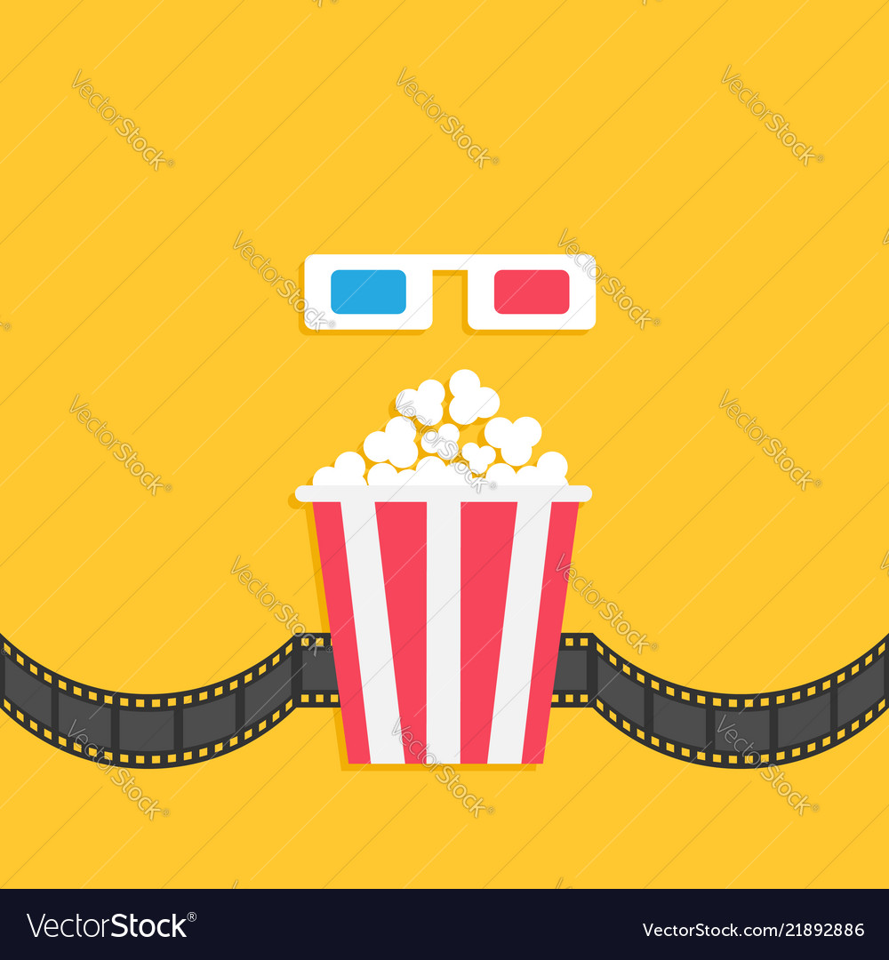 3d paper red blue glasses and popcorn box film