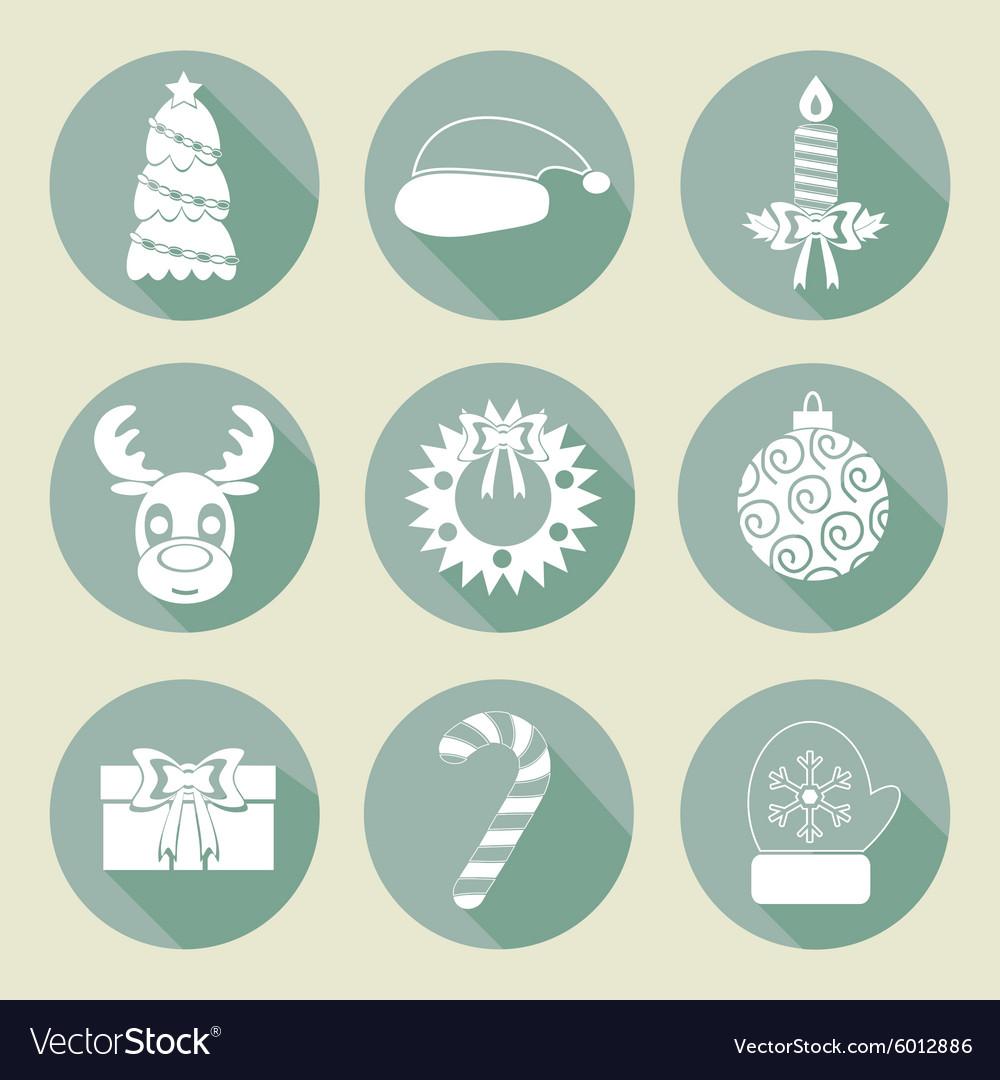 A set of Christmas icons Retro colors Flat design
