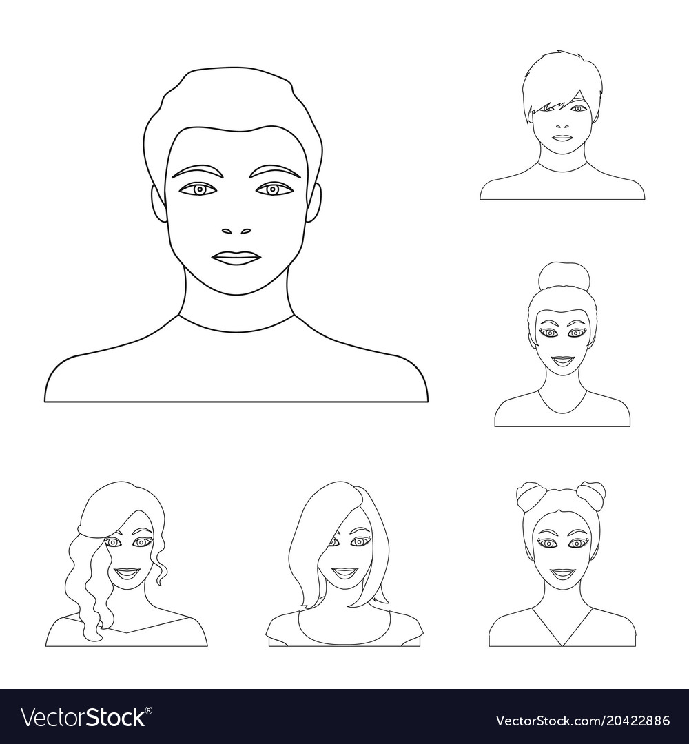 Avatar and face outline icons in set collection