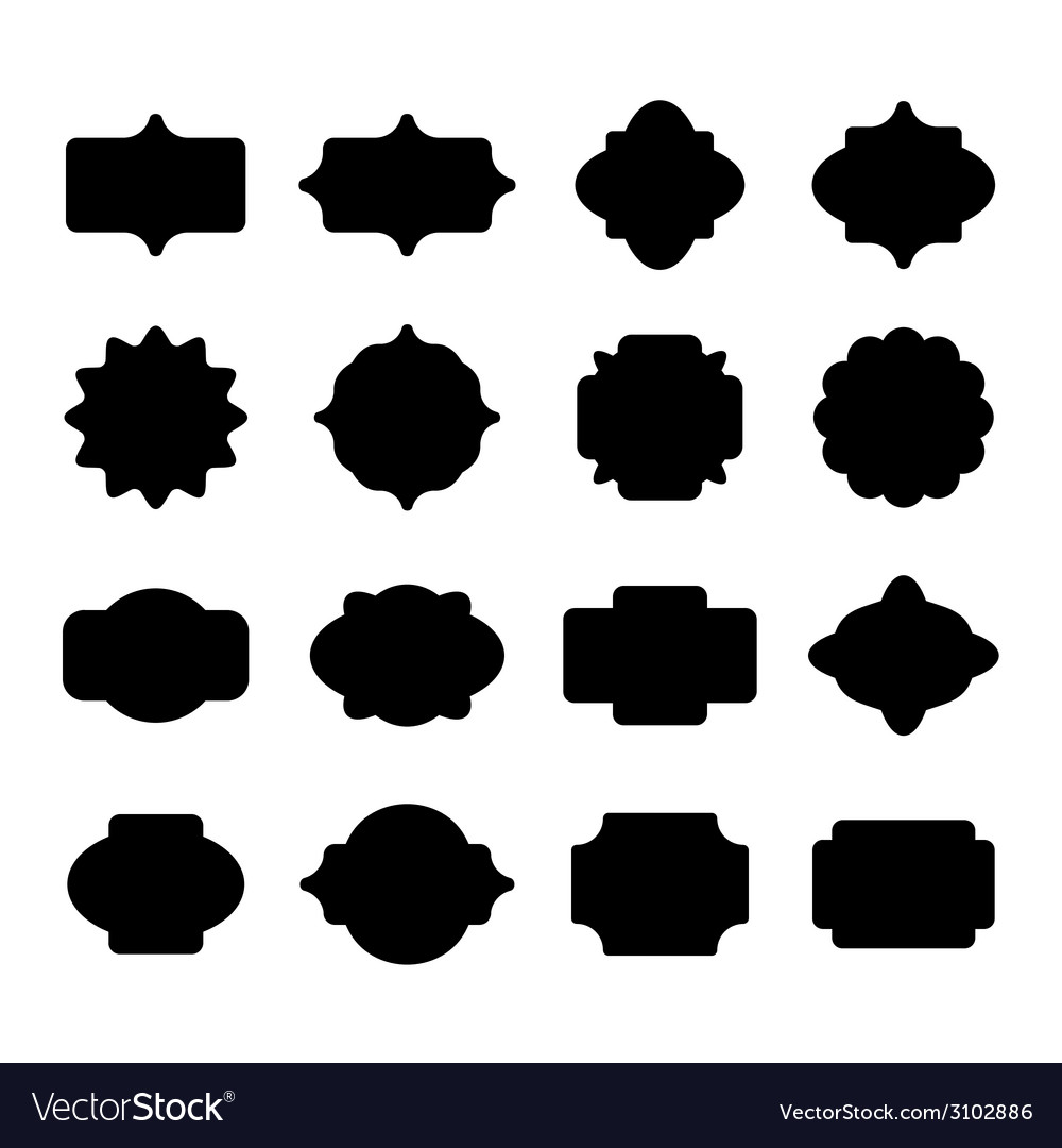 blank label and border set royalty free vector image