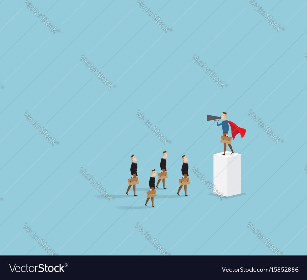 Businessman with megaphone standing on pillar vector image