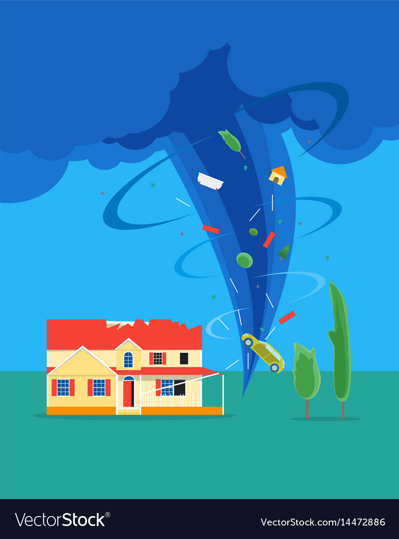 Cartoon tornado or hurricane destroy house