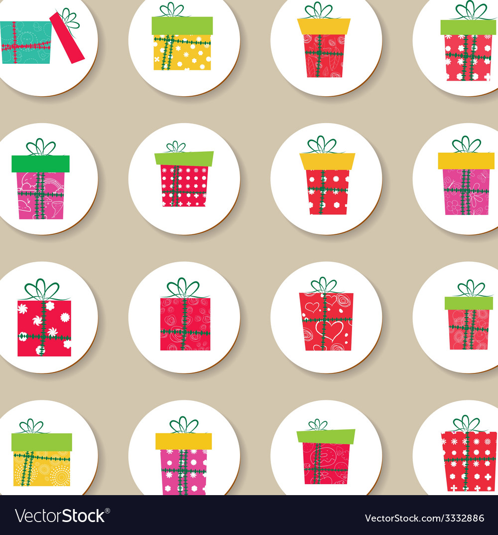 collection of gifts christmas labels and icons vector image