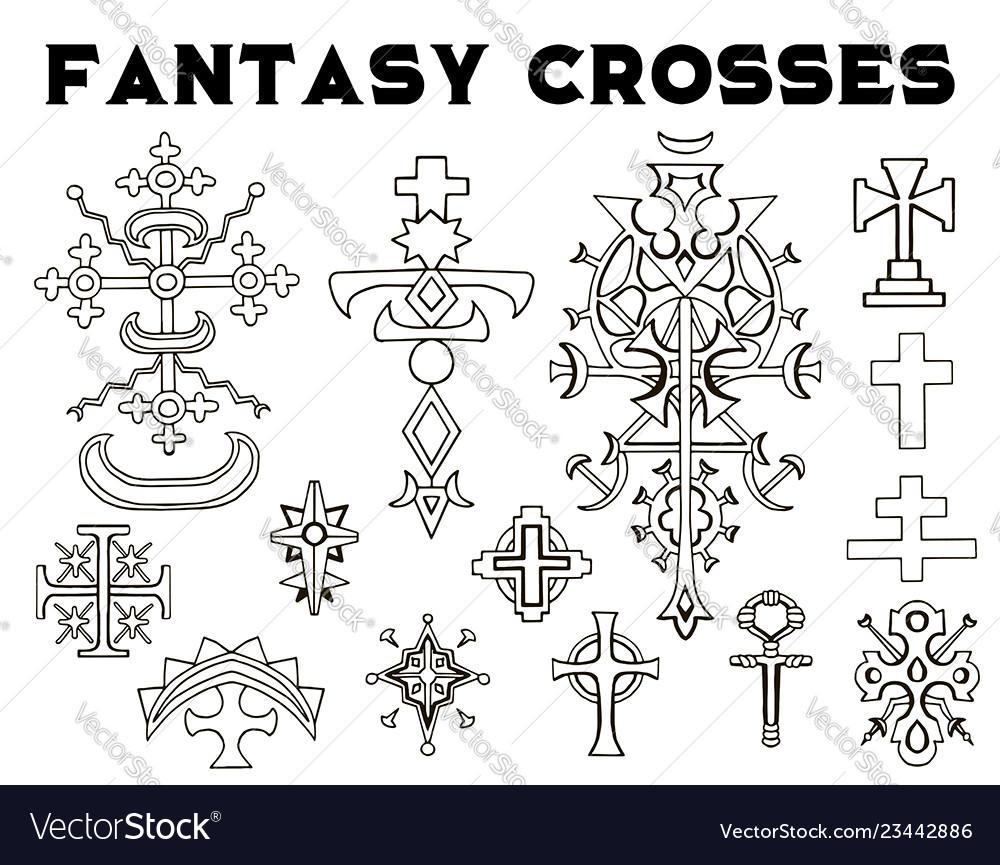 Design set with fantasy crosses 3