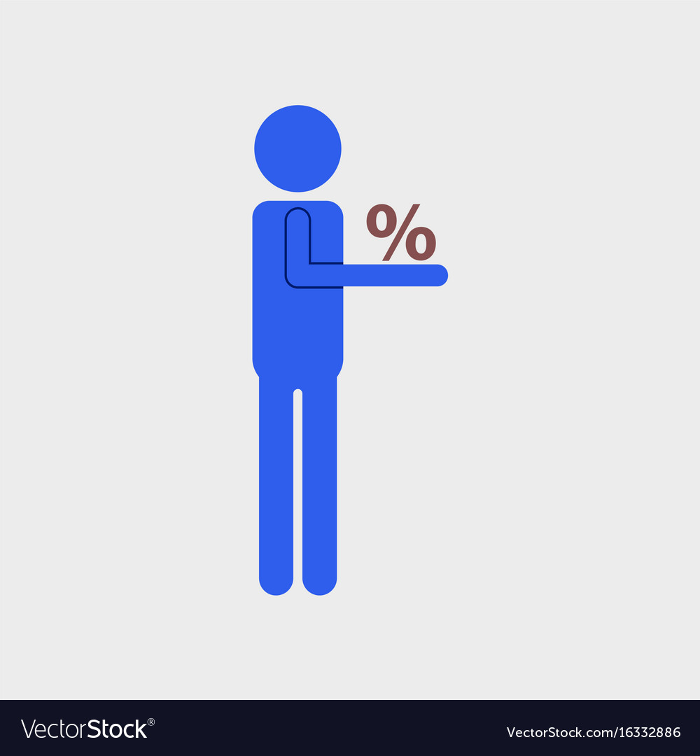 Flat icon of human discounts percent vector image