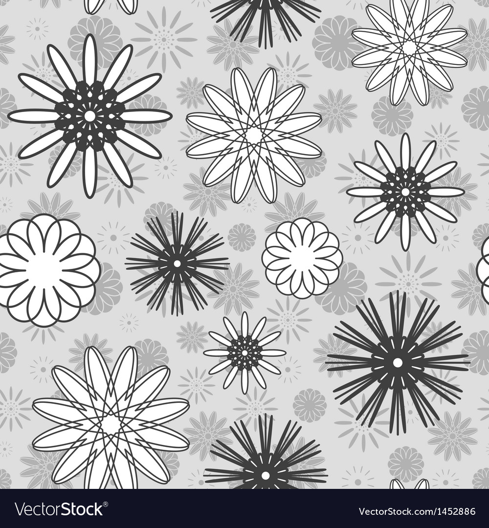 Gray Flowers Seamless Pattern vector image