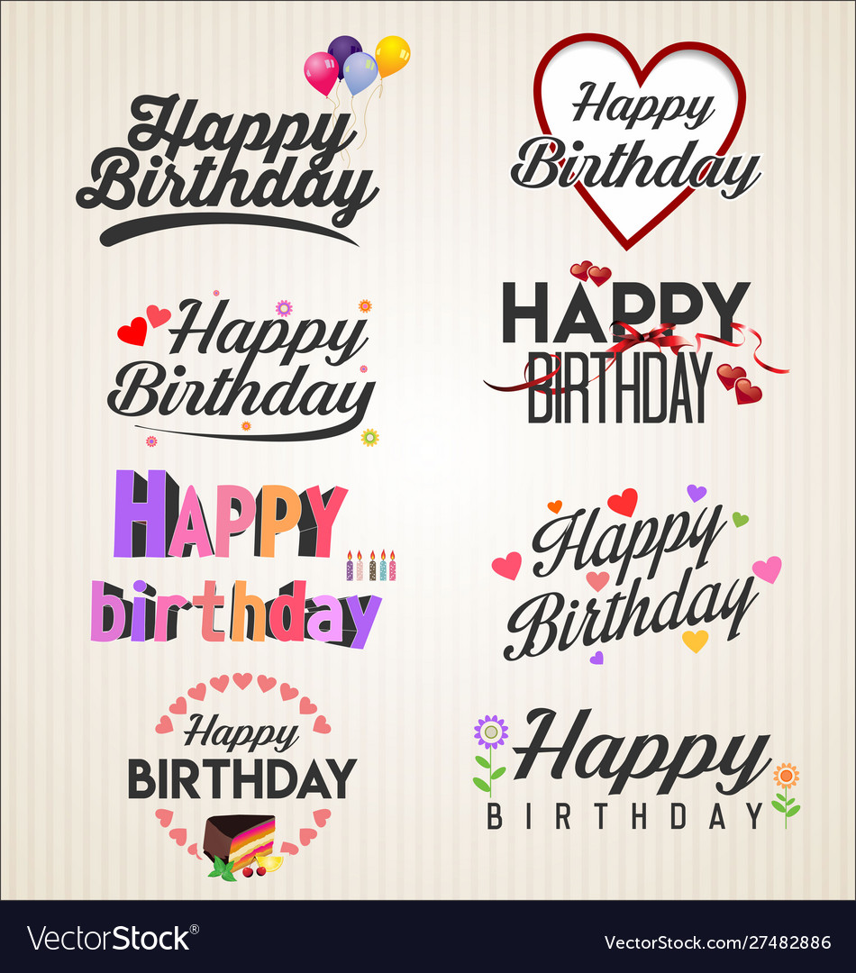 Happy birthday typographic background retro