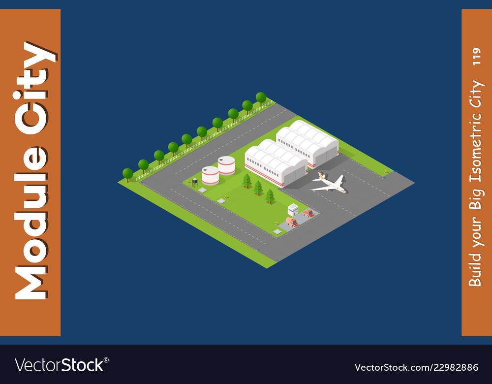 Isometric city 3d airport