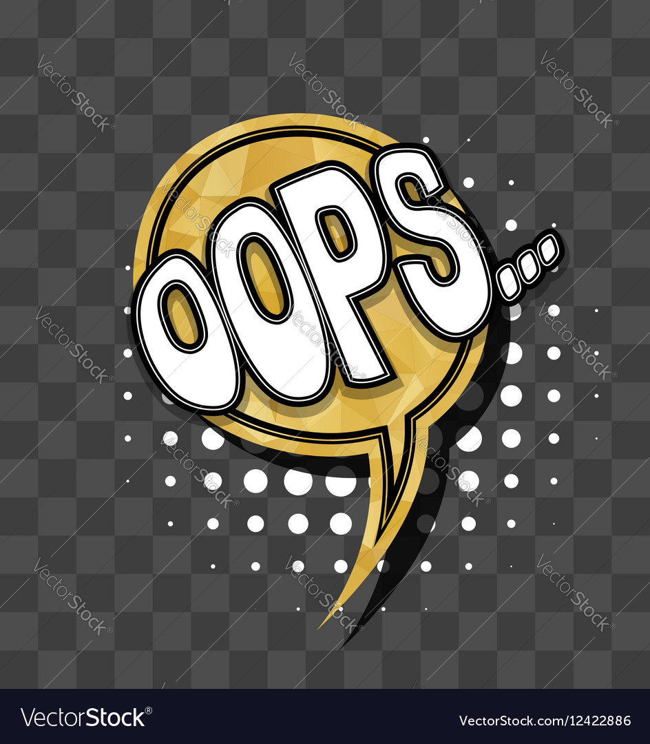 Lettering Oops Gold sparkle comic text vector image