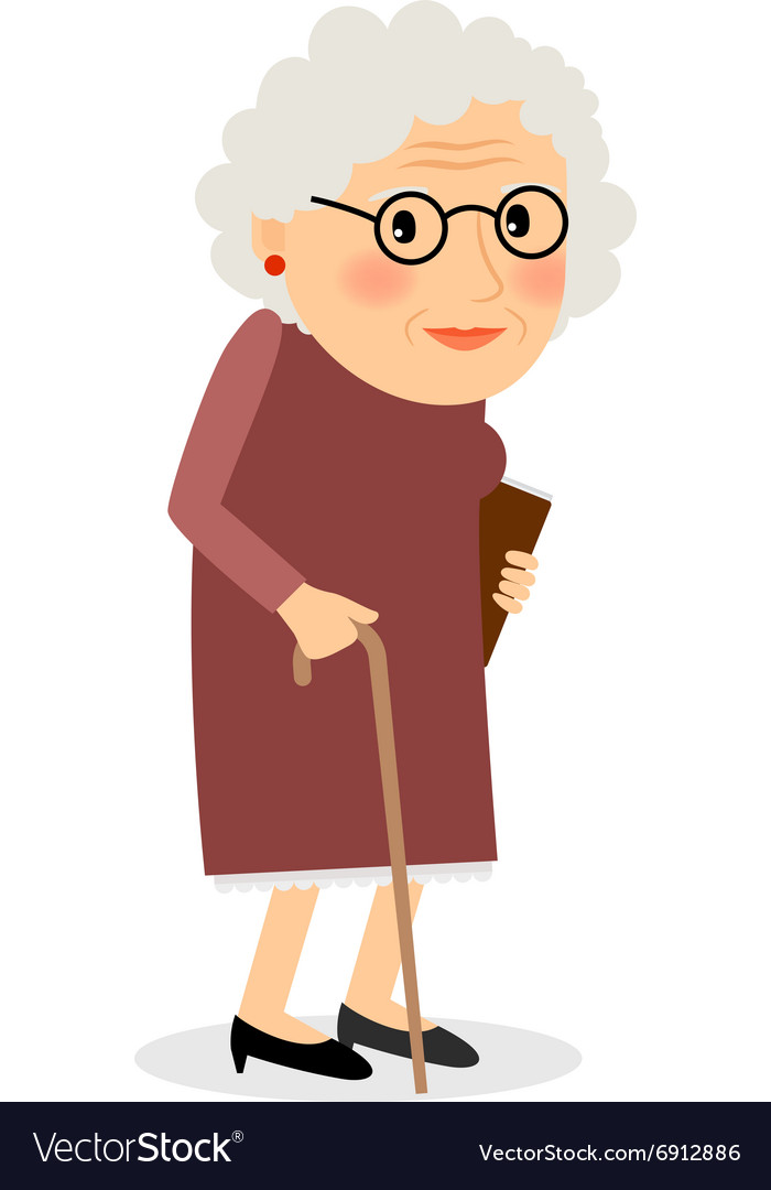 Old woman with cane