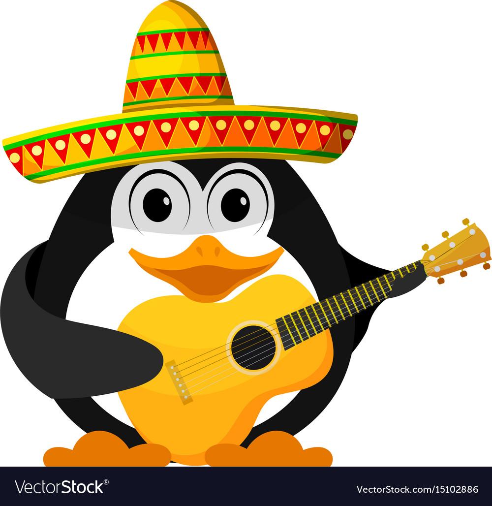 Penguin with a guitar and a sombrero cartoon