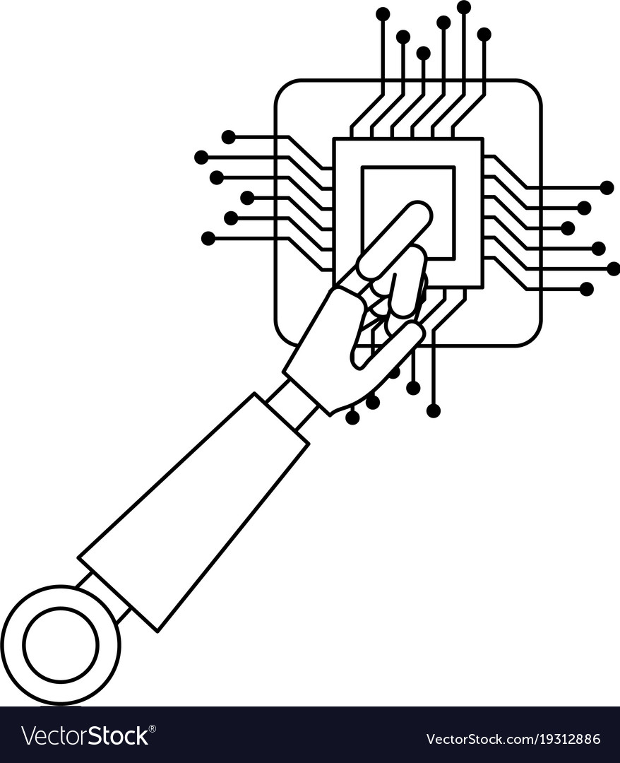 Processor Circuit With Robot Hand Royalty Free Vector Image Diagram