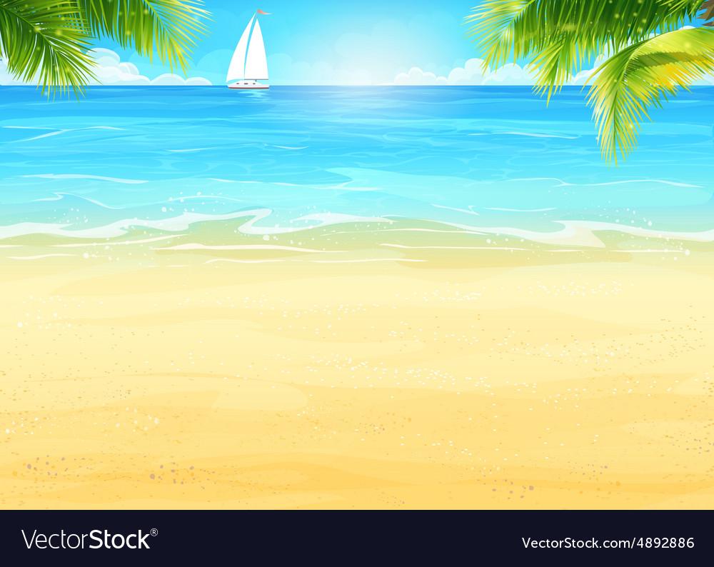 Summer beach palm trees on the