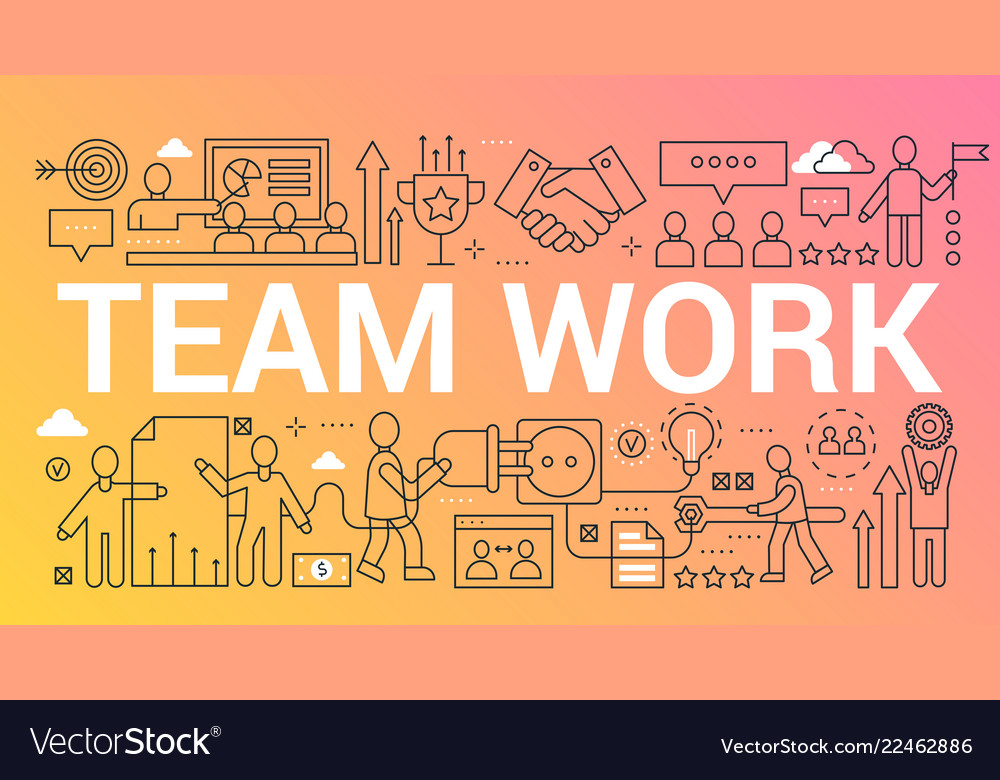 Team work word trendy composition concept banner