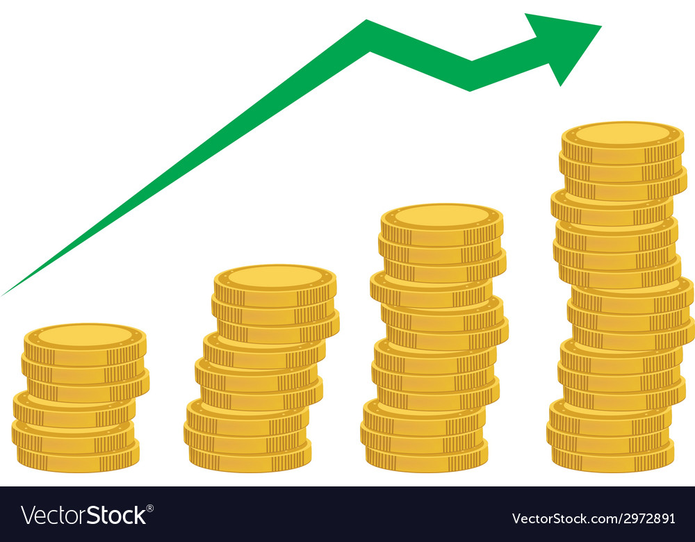Coins up vector image