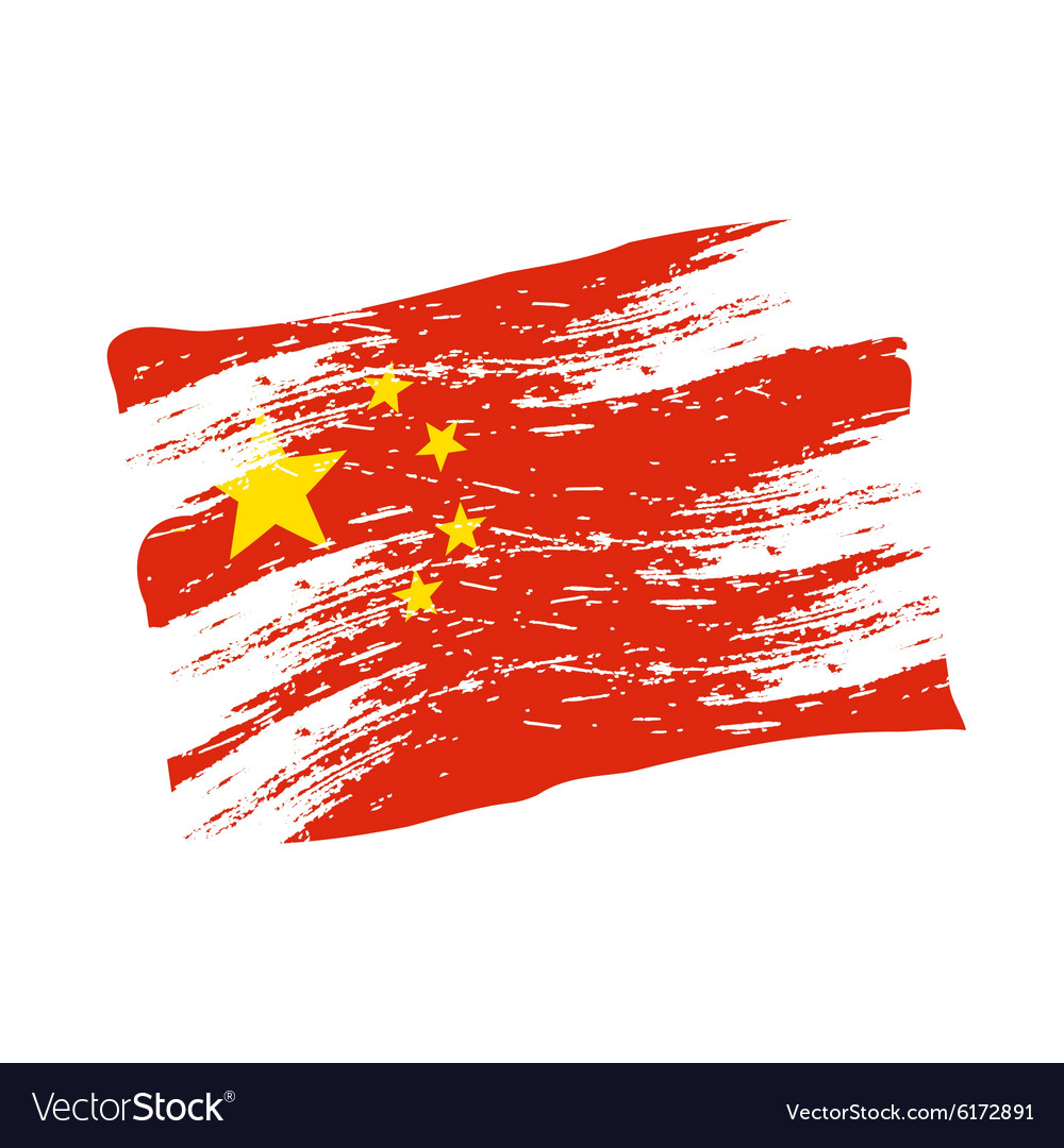 Color china national flag grunge style eps10 vector image