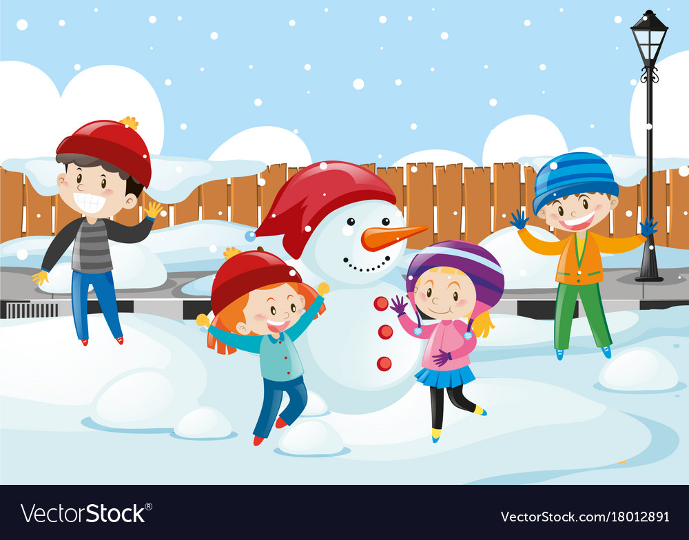 Happy children playing in the snow Royalty Free Vector Image