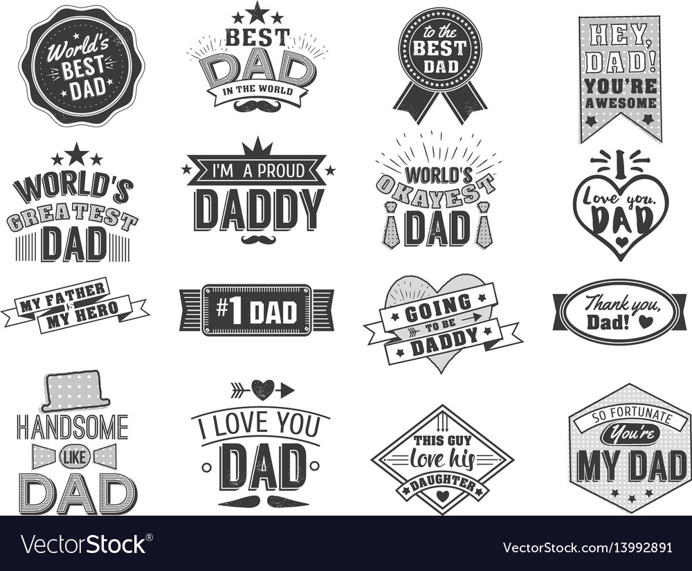 Isolated happy fathers day quotes on the white vector image