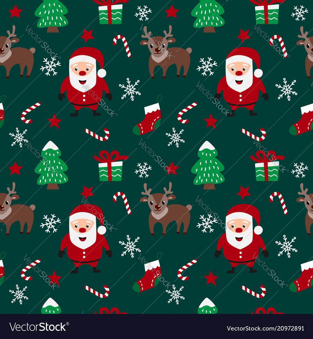 Merry christmas seamless pattern with santa claus