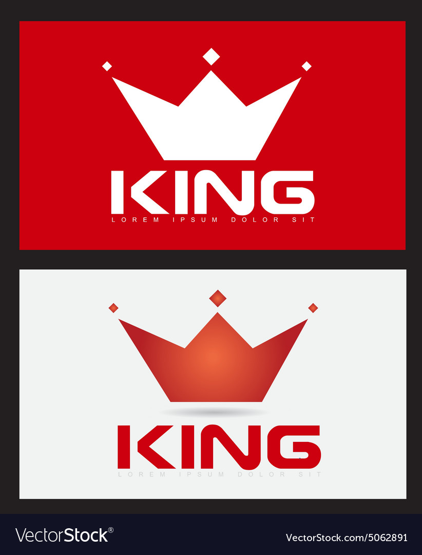 Red king crown logo design vector image