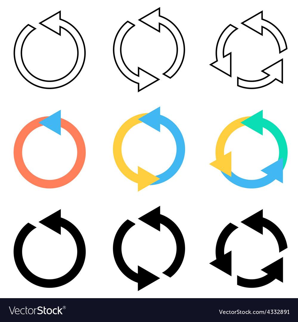 rotating circle arrows royalty free vector image rh vectorstock com semi circle arrow vector circle arrow vector free download
