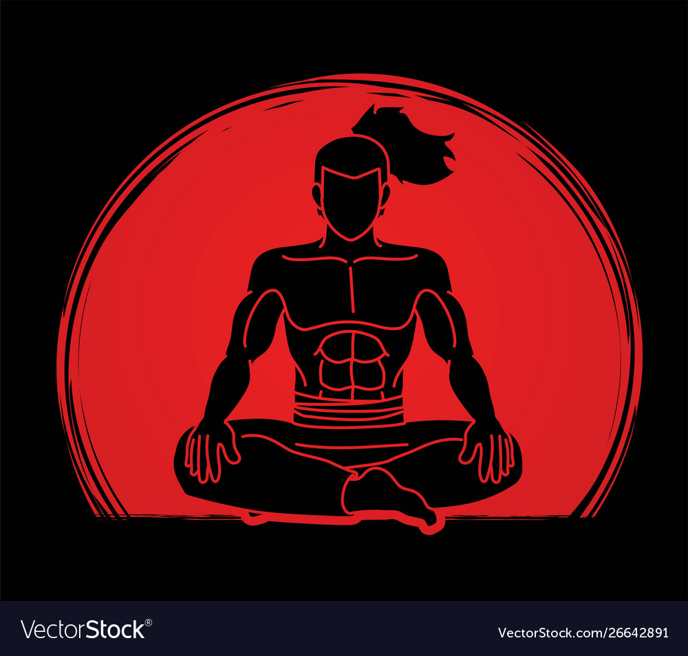 Samurai warrior sitting cartoon graphic