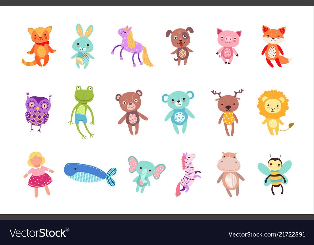 Set of cute colorful soft plush animal toys