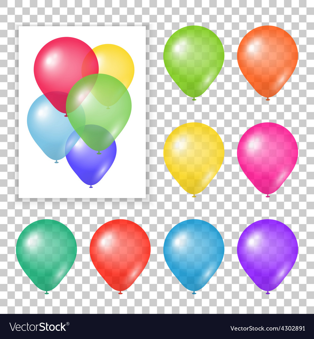 Set of party balloons on transparent background