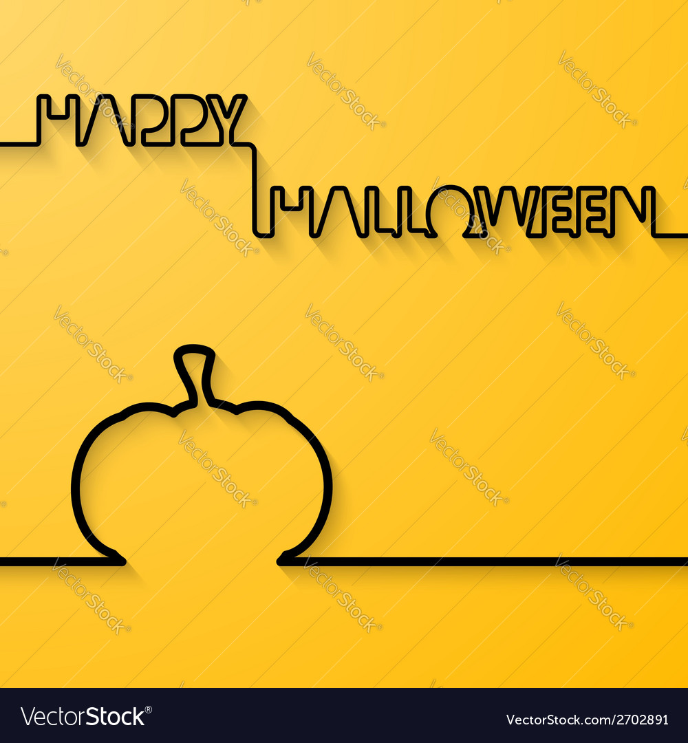 Silhouette of text and pumpkin on a light orange vector image