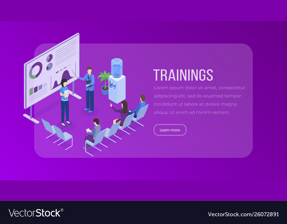 Trainings isometric landing page template