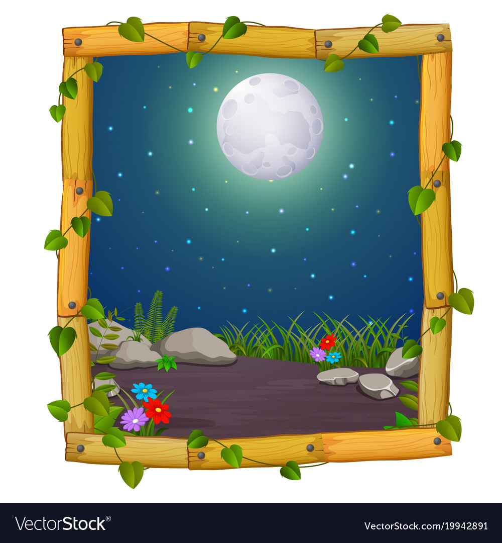 wooden frame with nature scene and fullmoon vector image